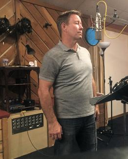"""Just booked a flight to Las Vegas..."" Swingin' crooner Frank Lamphere laying down a vocal track for a song on his CD America Swinging"
