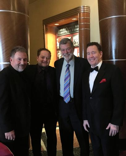 Frank Lamphere and his Las Vegas Rat Pack Jazz Trio (L-R) pianist Tony Branco, drummer Boris Shapiro, bassist Ken Seiffert and vocalist Frank Lamphere