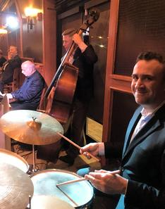 The Rat Pack Jazz trio this night in September 2017 included pianist Bobby Schiff, bassist Mark Sonksen and drummer George Fludas